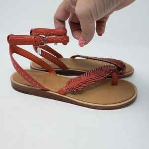 Red Coach feather sandals size 6